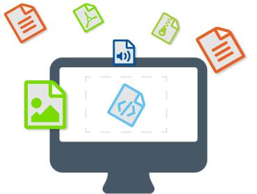 Tela de computador com diversos ícones representando recursos multímidas, como aúdio, vídeo e etc.